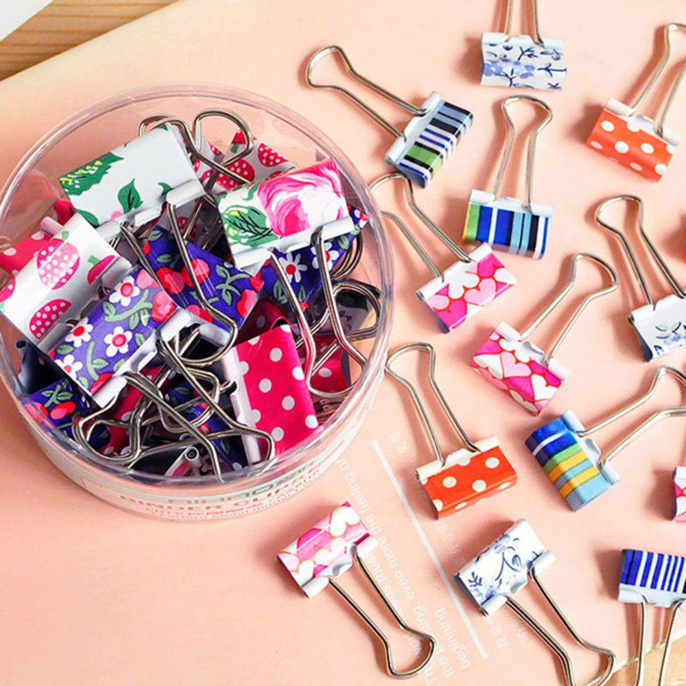 24 unids/set de clips de carpeta metálicos de flores de colores bonitos, Clip de papel, suministros escolares de oficina