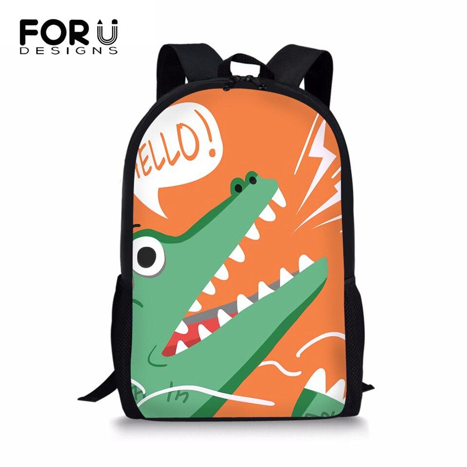 FORUDESIGNS Student Children Backpack Little Dinosaur Print Women Shoulder Laptop Kawaii Large Capacity Travel