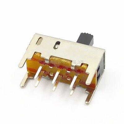 10 piezas 5mm perilla 2 posiciones DPDT 2P2T Mini interruptor deslizante Vertical 6 pines SS22H02G5