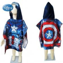 Serviette de bain à capuche pour enfants   Disney Avengers Captain America Mc Queen Car serviette de plage, Poncho bleu pour enfants 50 x 115cm