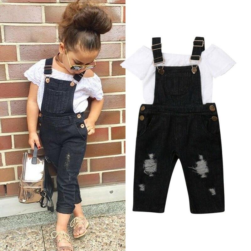 Conjuntos de ropa para niño pequeño, Chico, niña, Tops de encaje blanco, pantalones de babero, pantalones vaqueros 2 uds, trajes, ropa de verano