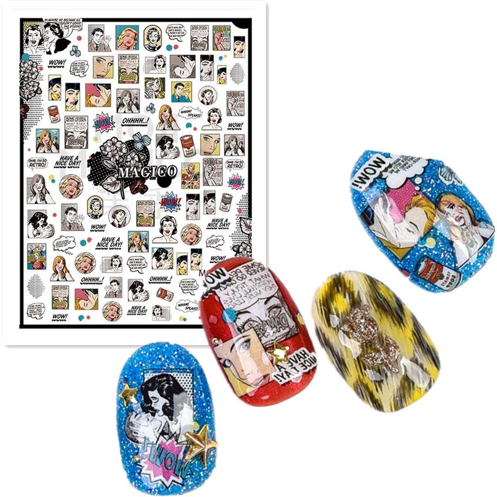 3d наклейки для ногтей в японском стиле, новые наклейки для ногтей в стиле комиков поп-мира, наклейки для ногтей на заднюю панель, аксессуары для самостоятельного украшения