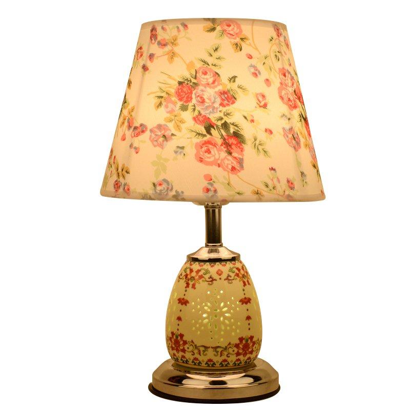 Tela de cerámica china, dormitorio junto a las luces de mesa, lámpara de escritorio tradicional de lujo para sala de estudio, lámpara de escritorio de porcelana para sala de estar