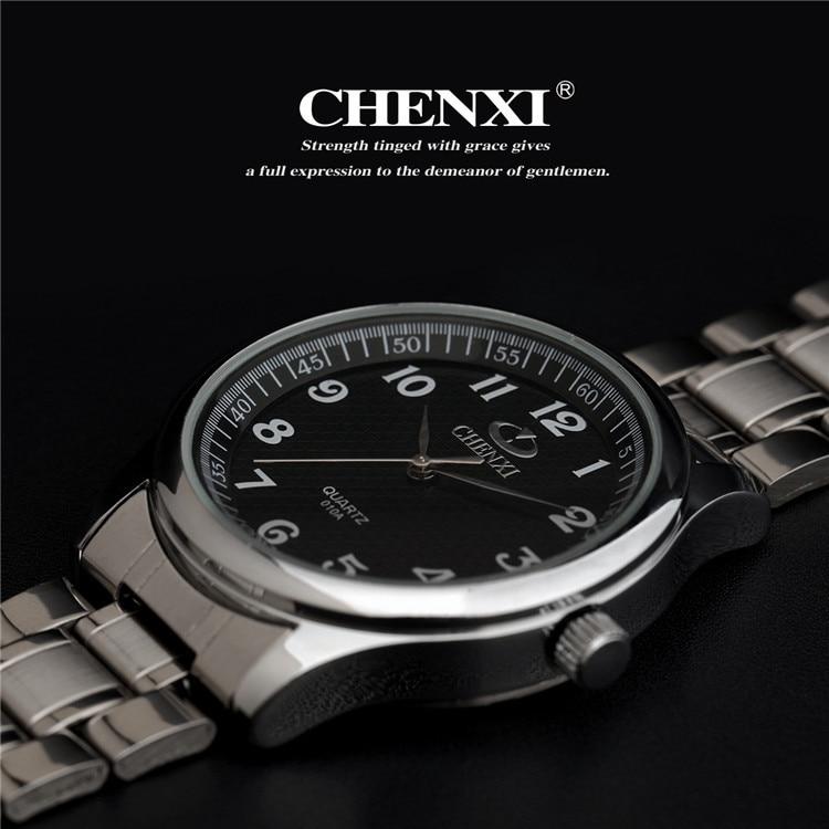 2018 Chinxi marca Oro reloj de los hombres de moda completa relojes de cuarzo de acero inoxidable reloj de pulsera 1 Pza/lote venta al por mayor reloj de los hombres 010A de plata