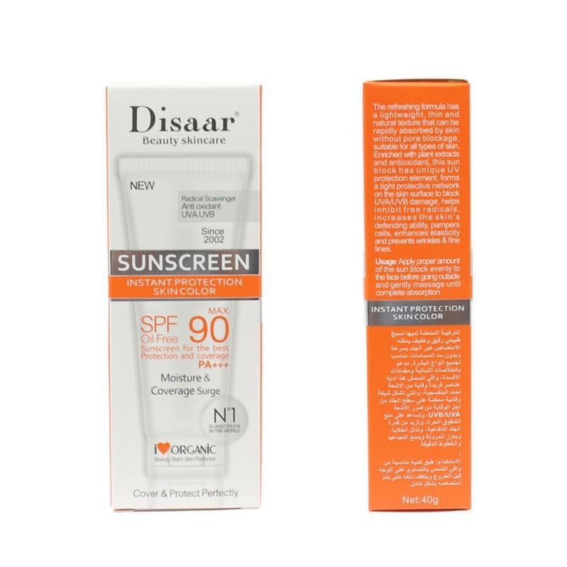 Skin Care Facial Sunscreen Cream Spf Max 90 Oil Free Radical Scavenger Anti Oxidant UVA/UVB 40g