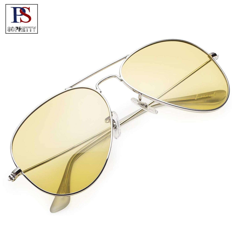 SOPRETTY Pilot Nachtsicht Anti Glare Sonnenbrille Männer Aviator Frauen Brille Gläser UV400 Sonnenbrille Fahrer Fahr Brillen SO3026