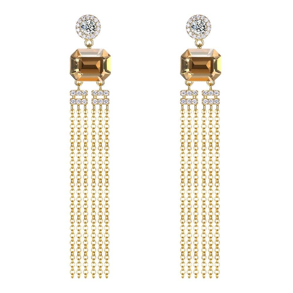 Grande Amarelo Cristal De Swarovski 925 Sliver Brinco Para As Mulheres Belas Jóias Longo Tassel Brinco Jóias Presentes De Casamento
