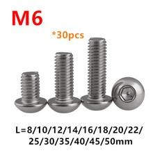 30pcs Thread M6 Round Head Hex Socket Screws ISO7380 M6*8/10/12/16/20/25/30mm Button head Bolts Mushroom Pan bolt SUS304