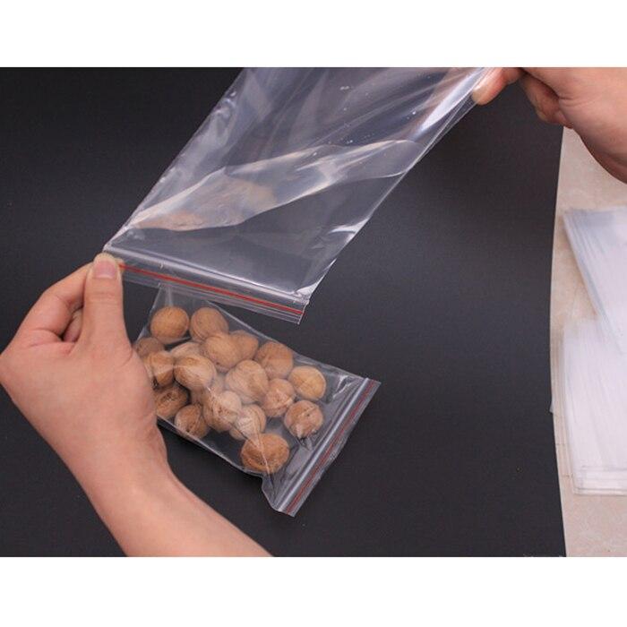 Bolsas herméticas de plástico con cierre hermético 100 uds, bolsas autoadhesivas de polietileno transparente, bolsas de cocina para alimentos, bolsas de almacenamiento