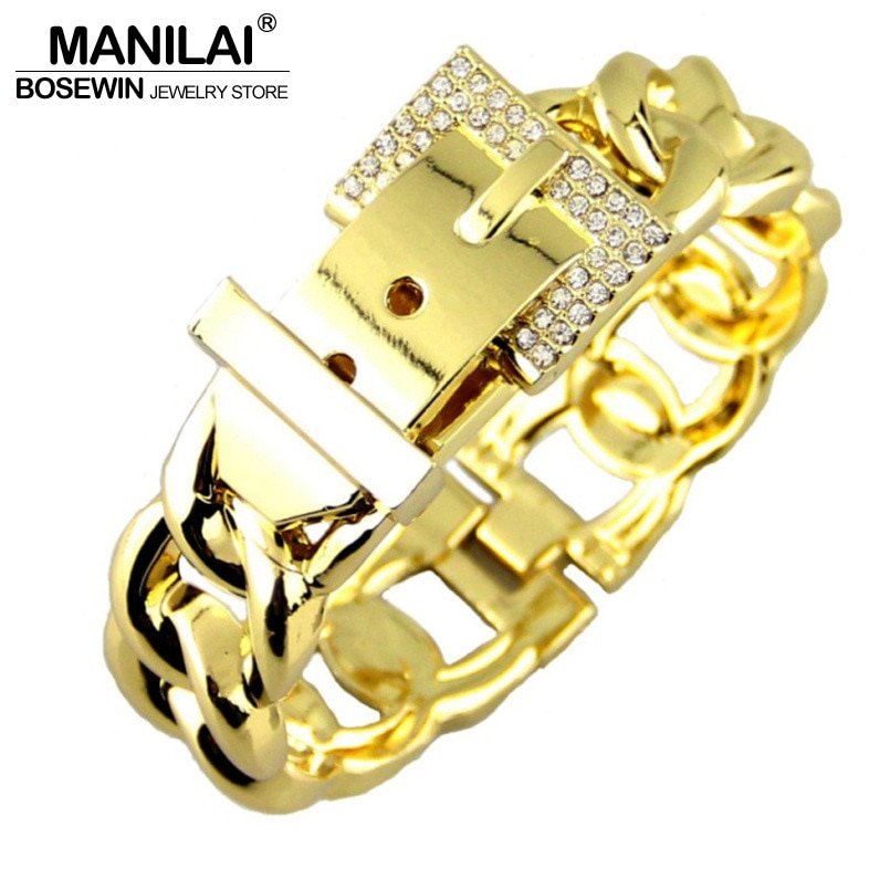 MANILAI moda mujer cinturón diseño pulseras accesorios aleación de Zinc diamantes de imitación Metal encanto brazalete brazaletes declaración joyería Punk