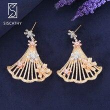 SisCathy Luxury Triangle Fans Flower Cubic Zirconia Drop Dangle Earrings For Nigerian Women Wedding Engagement Party Jewelry