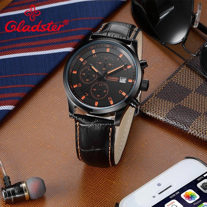 Gladster الفاخرة العلامة التجارية ساعة يابانية VD57 أزياء الرجال ساعة كوارتز الفولاذ المقاوم للصدأ الذكور ساعة اليد للماء مضيئة الرجال ساعة