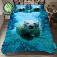 HELENGILI 3D Bedding Set Polar Bear Print Duvet Cover Set Lifelike Bedclothes with Pillowcase Bed Set Home Textiles #BJX-03