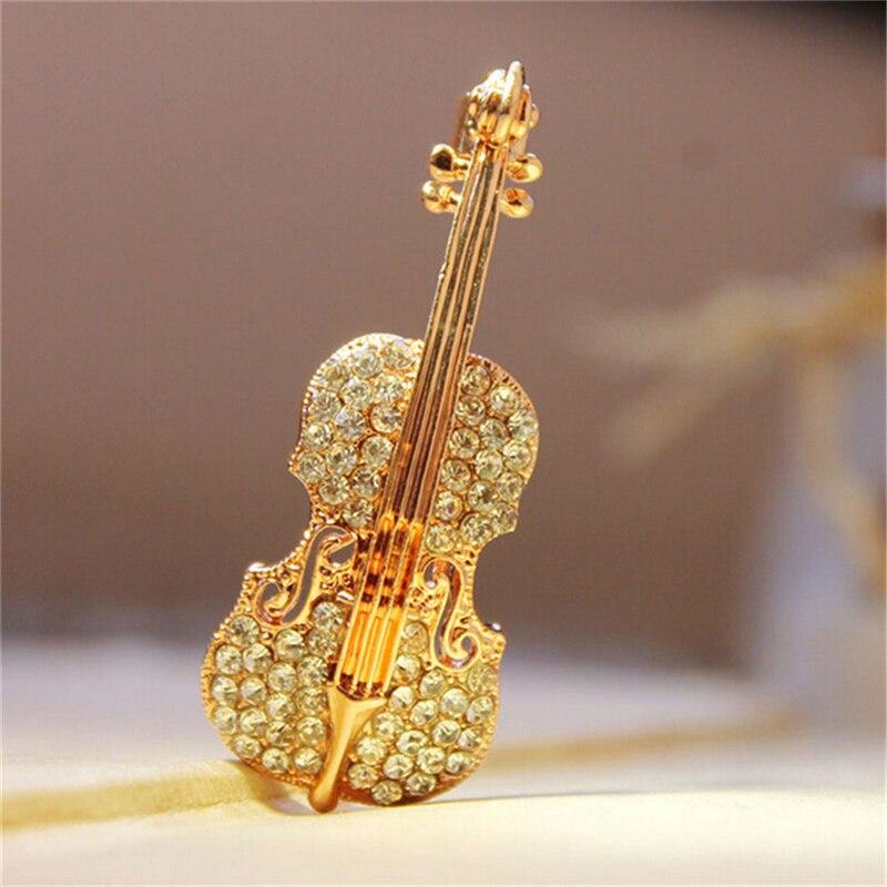 Moda feminina pinos punk personalidade broches cristal strass violino broches pino jóias acessórios broche