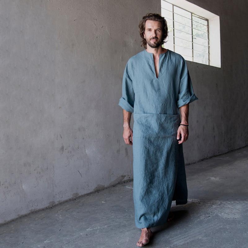 Мужские натуральный лен хлопок ультрадлинный кабельный провод пол Длина халаты; банные халаты; одежда для отдыха; одежда Повседневный кафт...