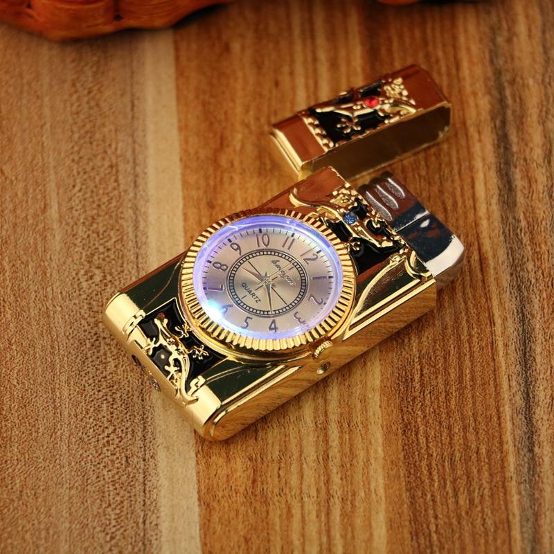 Gecko modeling Lighter Clock Watch Quartz Lighter Gas Compact Butane Jet Torch Cigarette Cigar Strai