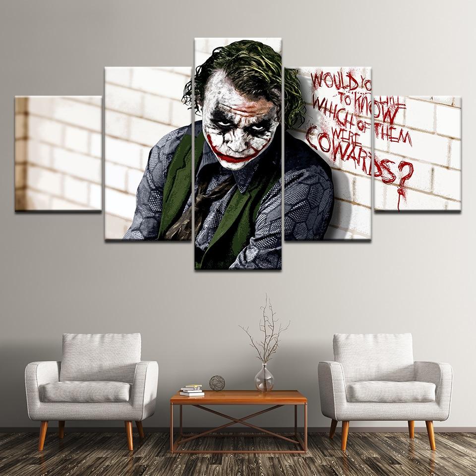 Canvas Painting Batman Joker Dark Knight 5 Pieces Wall Art Painting Modular Wallpapers Poster Print for living room Home Decor
