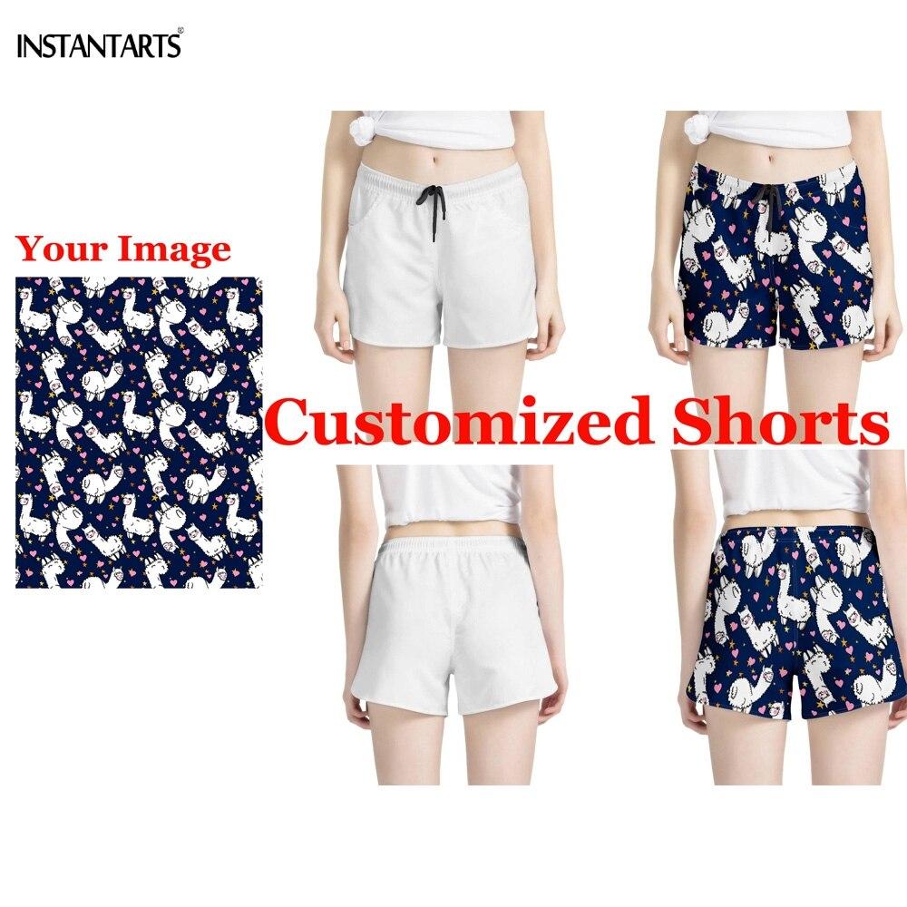 INSTANTARTS 2019 las nuevas mujeres de Yoga de verano Pantalones cortos de su logo personalizado/Imagen/Foto femenina impreso pantalones cortes deportivos para gimnasio pantalones cortos