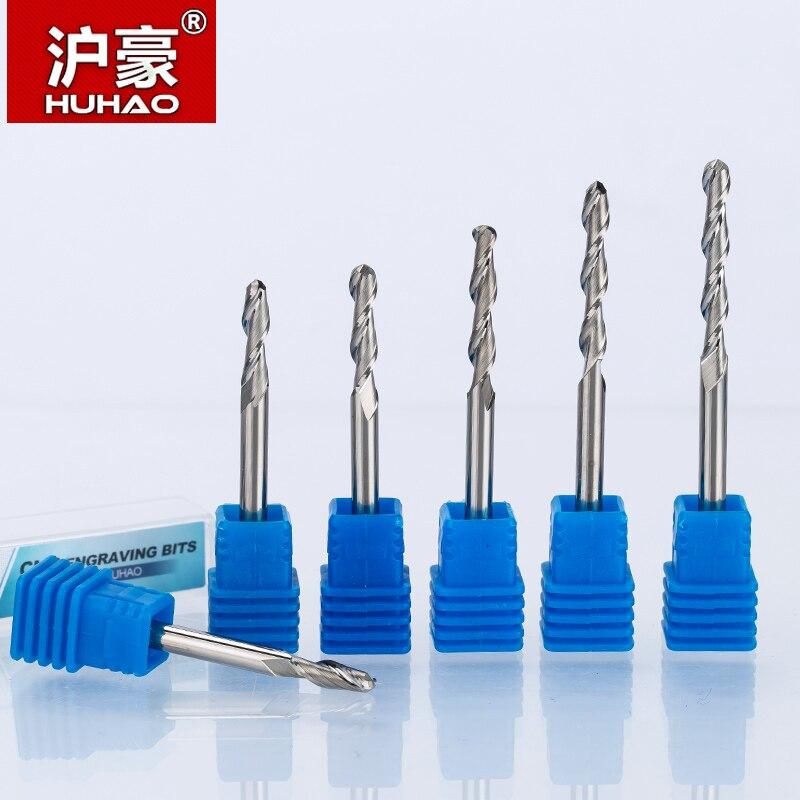 HUHAO 1 pc 6mm bola nariz fresas 2 Flauta Espiral CNC moagem de carboneto de tungstênio router bits para madeira 3A qualidade Superior rota ferramenta