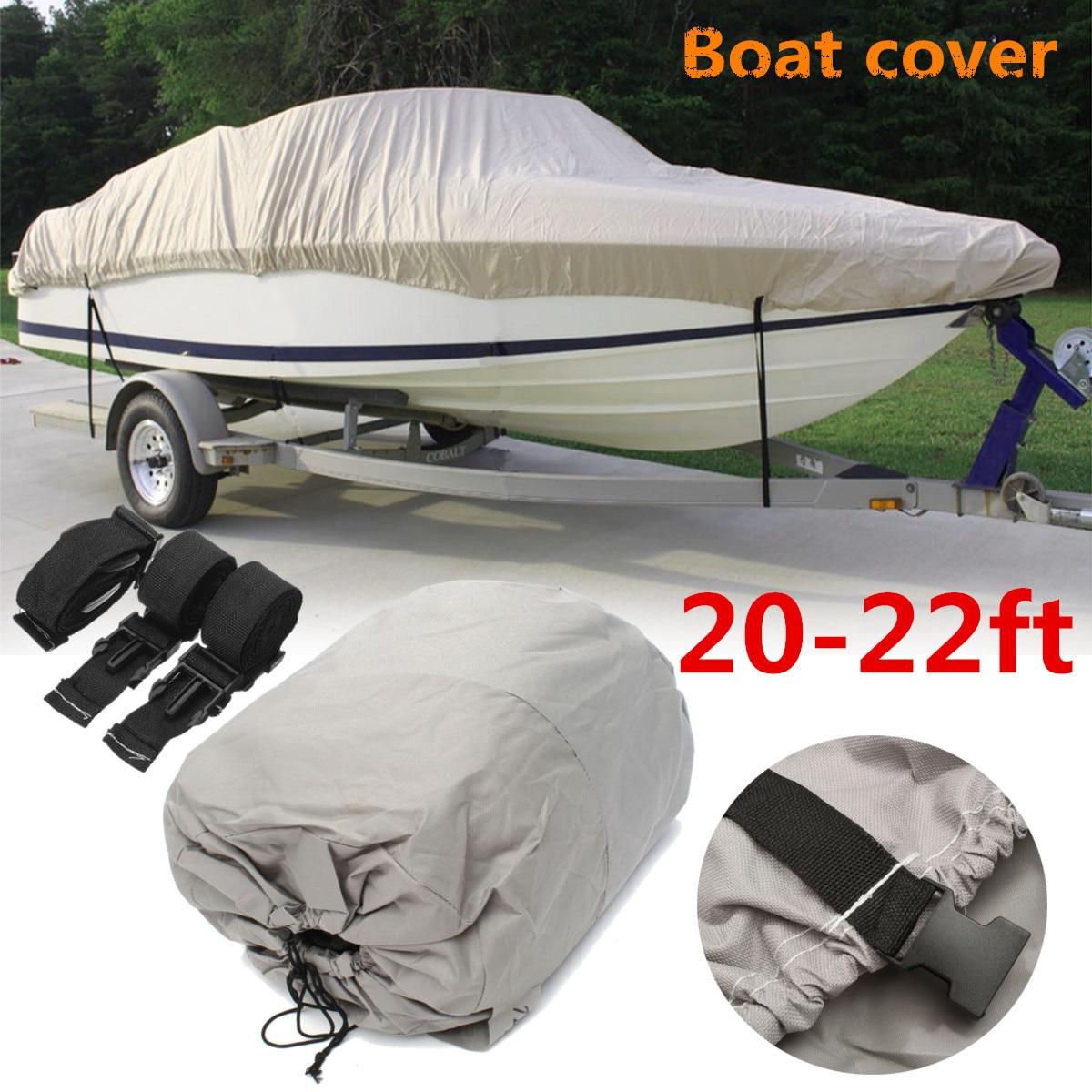 20-22ft 600d cinza impermeável barco pesado capa de esqui de pesca vhull
