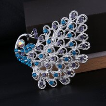 DIEZI mode femelle broche de paon belle Animal oiseau cristal broches broches pour mariage femmes bijoux de mode