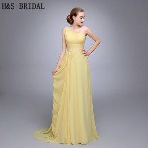 HS12 Best Selling Pleated Beaded One Shoulder Sleeveless Beaded Chiffon Long Evening Wear Gown Vestidos De Festa Vestido Longo