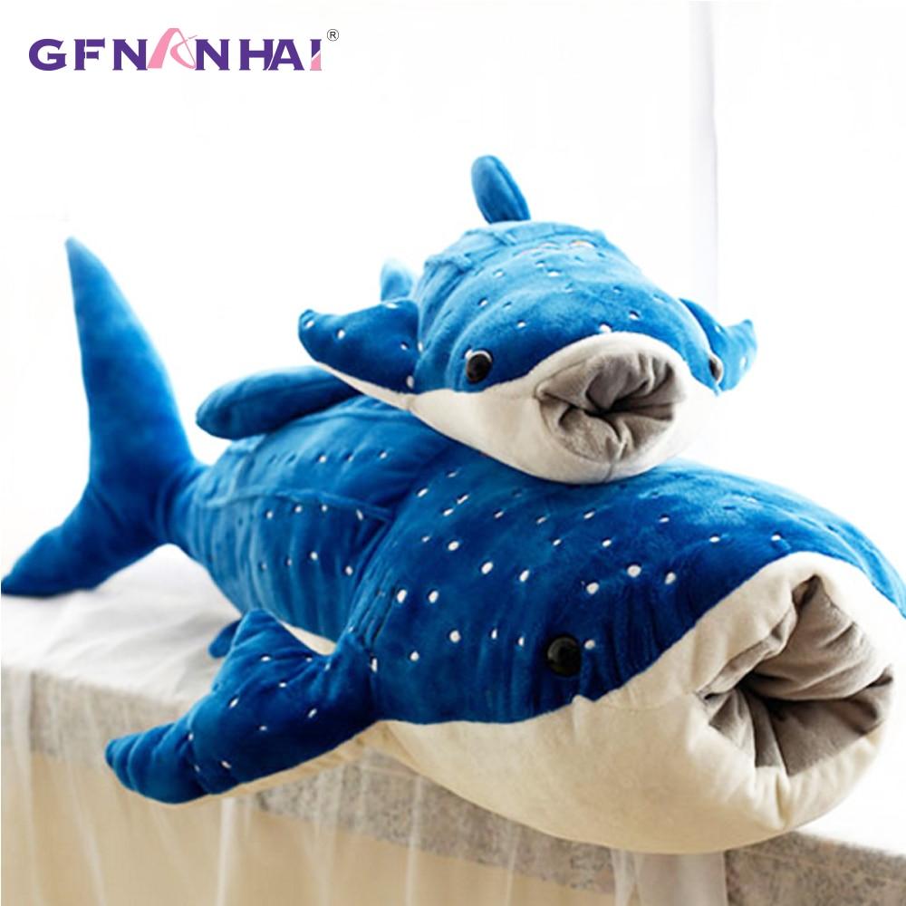 1 unidad 100/125cm Tamaño gigante almohada de felpa de tiburón de simulación de dibujos animados océano ballena pez muñecas sofá cojín juguetes de peluche regalo para niños
