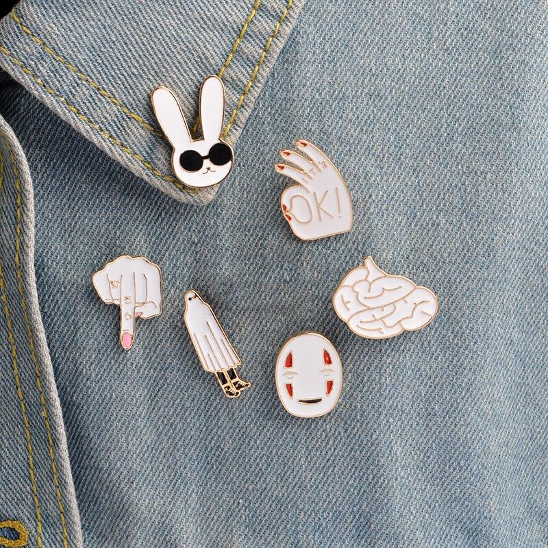 Эмалированная булавка на пуговицах, куртка, заколки, мультфильм Дубай, кролик, маска для мозга, это нормально! Значок в стиле аниме «средний ...