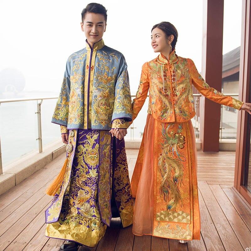 Vestido de novia de novio estilo chino vestido de boda de China de la novia elegantes trajes de tostadas en el extranjero vestido tradicional chino