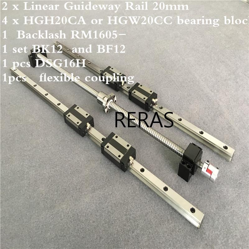 2 قطعة HGH20 أي طول + 1 مجموعة SFU1605 + 4 HGH20CA /hgw20cc الخطي دليل عالية الجمعية مربع تحميل الكرة المسمار الحركة الخطية وحدة