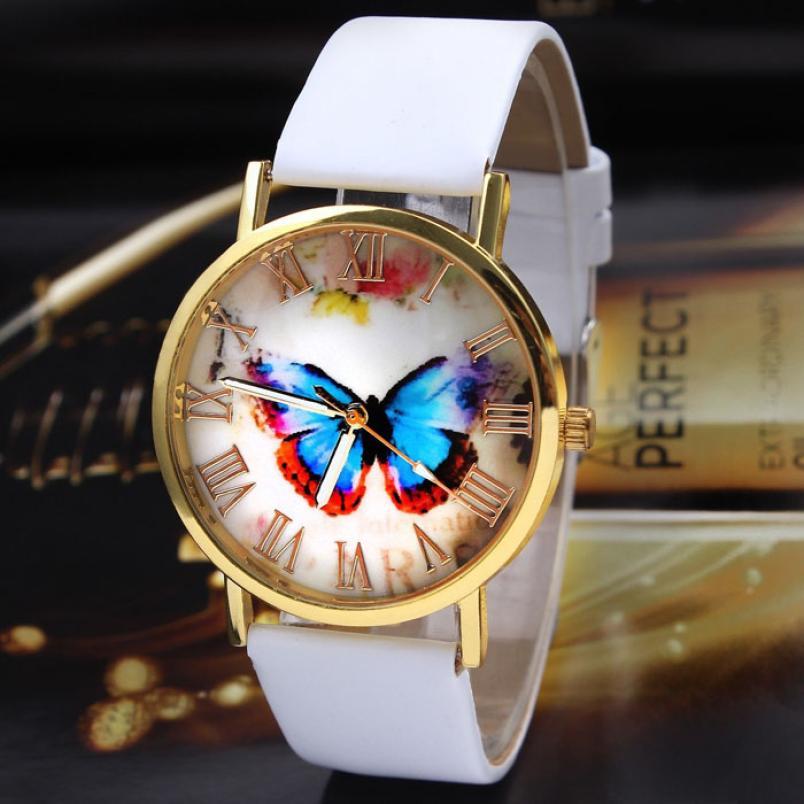 ¡NOVEDAD DE 2016! reloj de pulsera de cuarzo analógico con correa de cuero Estilo mariposa para mujer