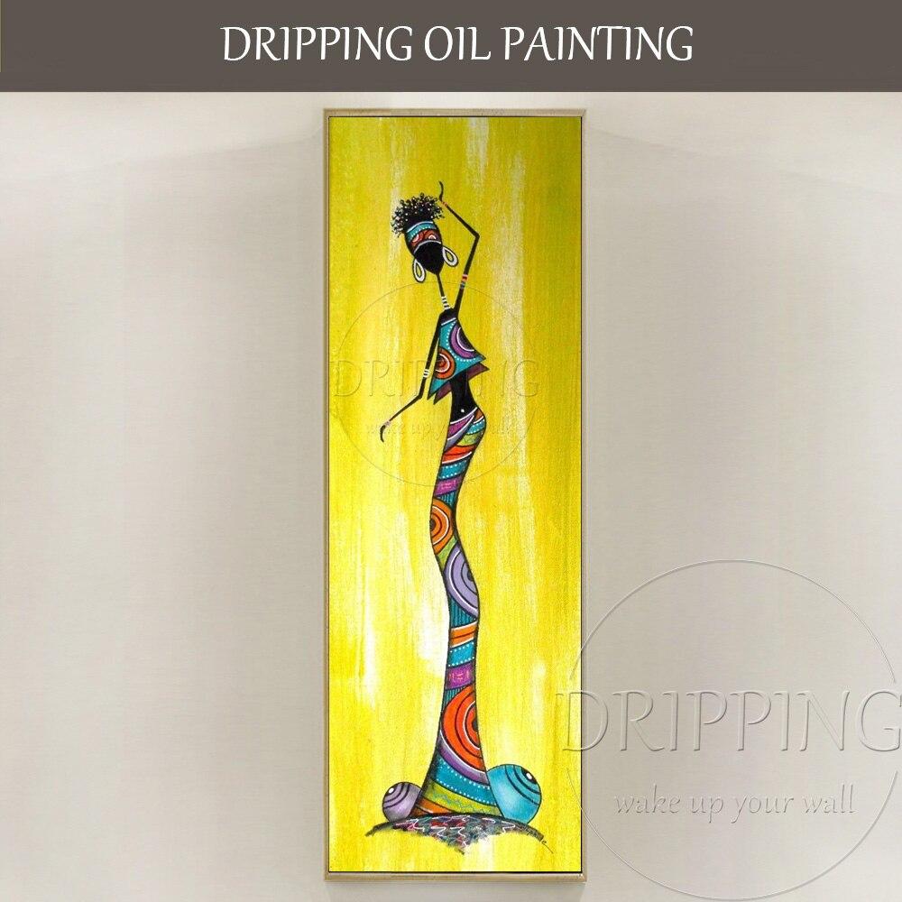 Einzigartige Wandkunst Bilder Künstler Hand bemalt Lange Größe Vertikale Rechteck Ölgemälde Abstrakte Afrikanische Frau Ölgemälde