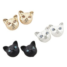 1pair Small Stud Earrings For Women Fashion Jewelry Hot Sale Silver Gold Black Cute Cat Earings