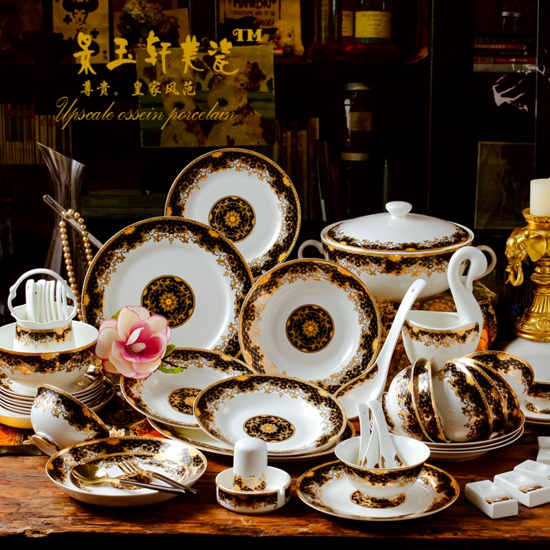 60pieces European Court dinnerware sets luxury sets for Jingdezhen high-grade bone china bowl