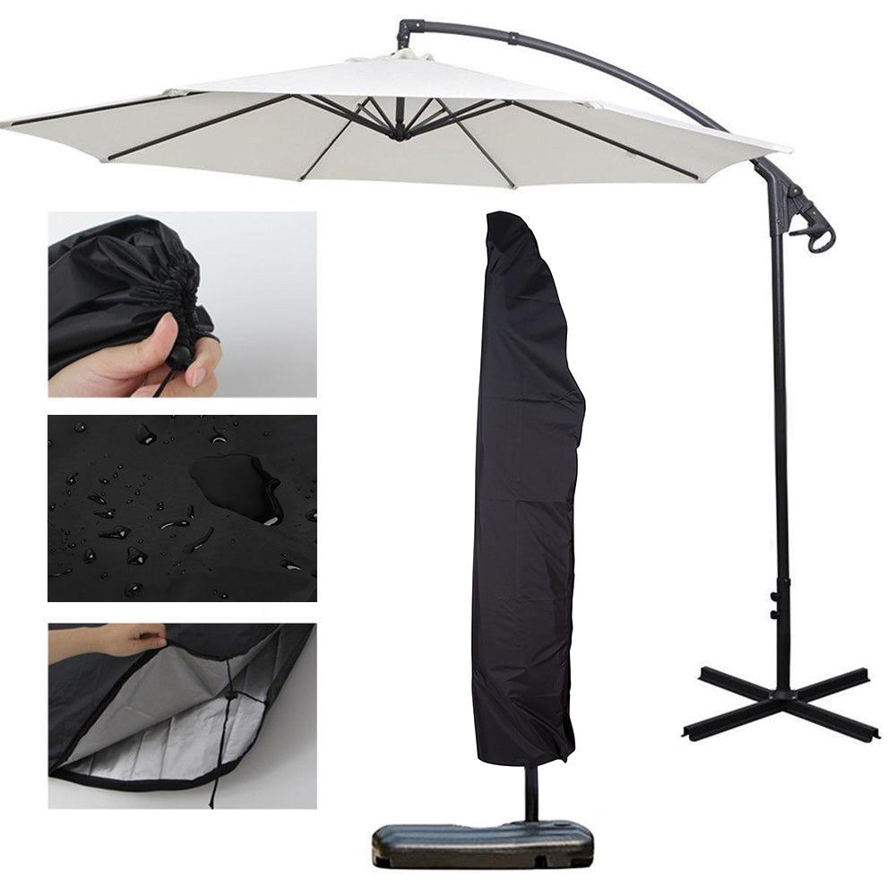 Sombrilla de Patio de 265 cm, cubierta impermeable para paraguas, cubierta para lluvia, cubierta para paraguas, alfombrilla voladizo con cordón, protección contra el polvo