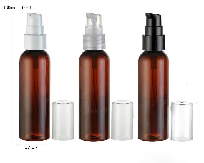 30x60ml gran oferta botella de bomba de loción marrón ámbar para mascotas 60 CC champú y envase plástico de cosméticos