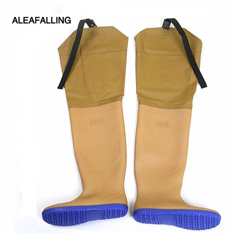 Aleafalling Beige Rubber Bottom 80CM Long Paddy Field Farmland Farm Boots Flat Anti-schistosome Lengthened Seedlings Shoes M76