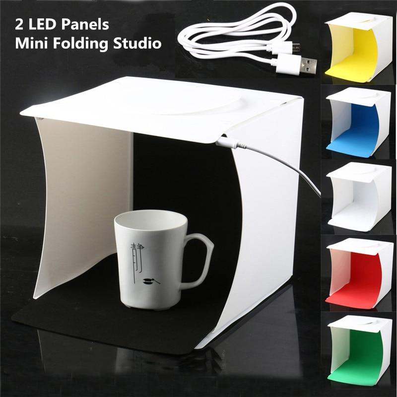 Caja de luz plegable portátil para estudio de fotografía Softbox caja de luz LED Kit de tienda para iPhone Samsang DSLR cámara de fondo fotográfico