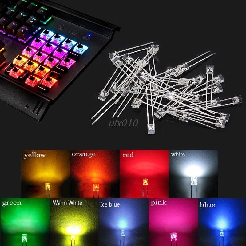 DIY 30 Uds 3mm Arco Iris redondo LED Cherry Gateron Kailh MX Switches teclado S08 venta al por mayor & Envío