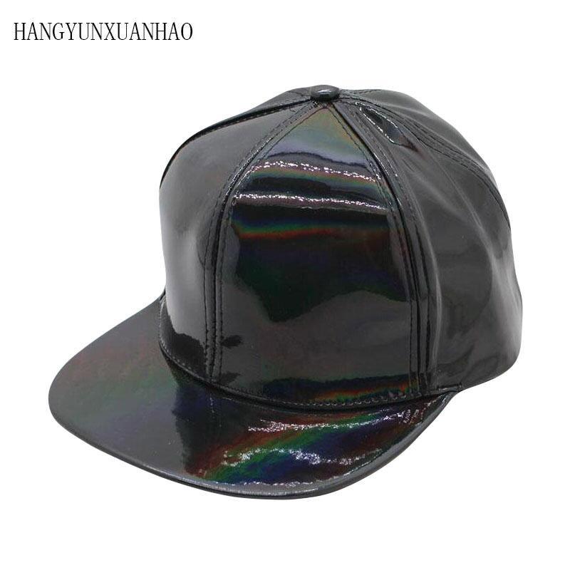 Shining PU Flat Brim Baseball Hats For Women Men Solid Snapbacks Cap PUNK Street Dancer Leather Cool Hip Hop Caps