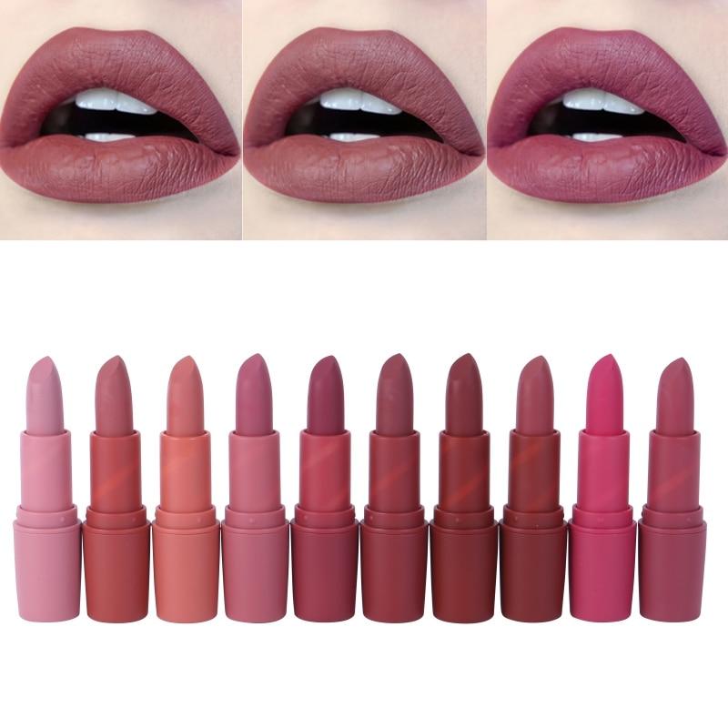 Miss rosa mulher batom vermelho 10 cores wterproof vampiro marrom beleza bebê lábios batom matte batom maquiagem cosméticos brilho labial