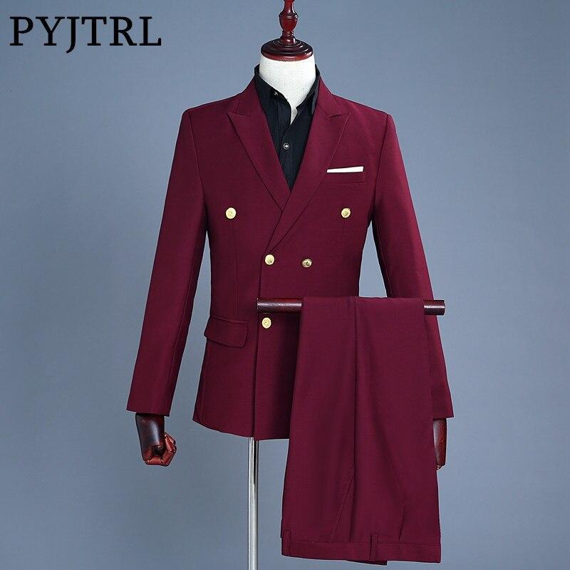 Marca PYJTRL, esmoquin de novio rojo vino, trajes de cantante de boda, traje ajustado de doble botonadura, vestidos de baile de graduación, traje informal de moda para hombre