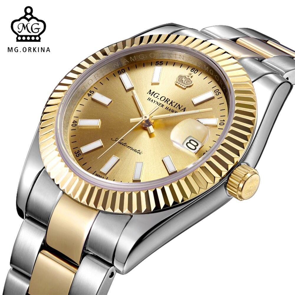 MG Relojes ORKINA de diseño para Hombre, relojes de pulsera mecánicos resistentes al agua para Hombre, Reloj de pulsera de acero inoxidable para Hombre, Reloj dorado