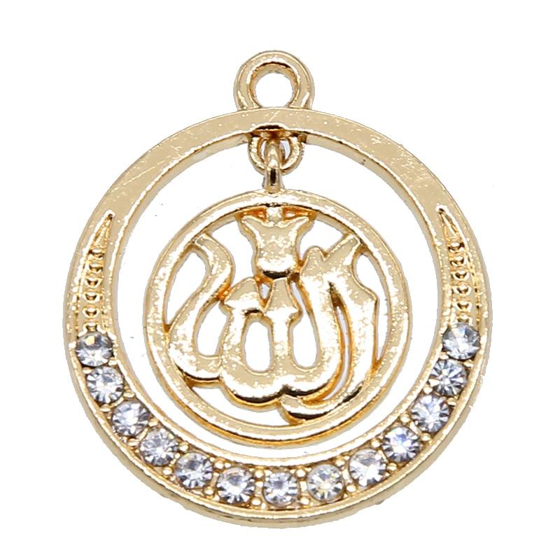 6 uds oro nuevo/plata/KC oro colores árabe islámico Dios Alá colgante accesorios mujeres musulmanas encanto joyería 26*30*3mm