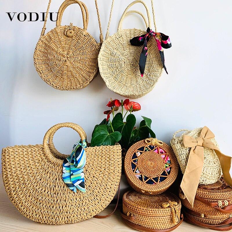 Bolso de playa para mujer, bolso de mano hecho a mano, de paja, de moda de verano, femenino, de ratán, bandoleras de viaje para mujer 2019