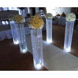 Atacado Diamante de casamento de ferro fibra de pilares mandap decoração com diamante e cristal cabido branco