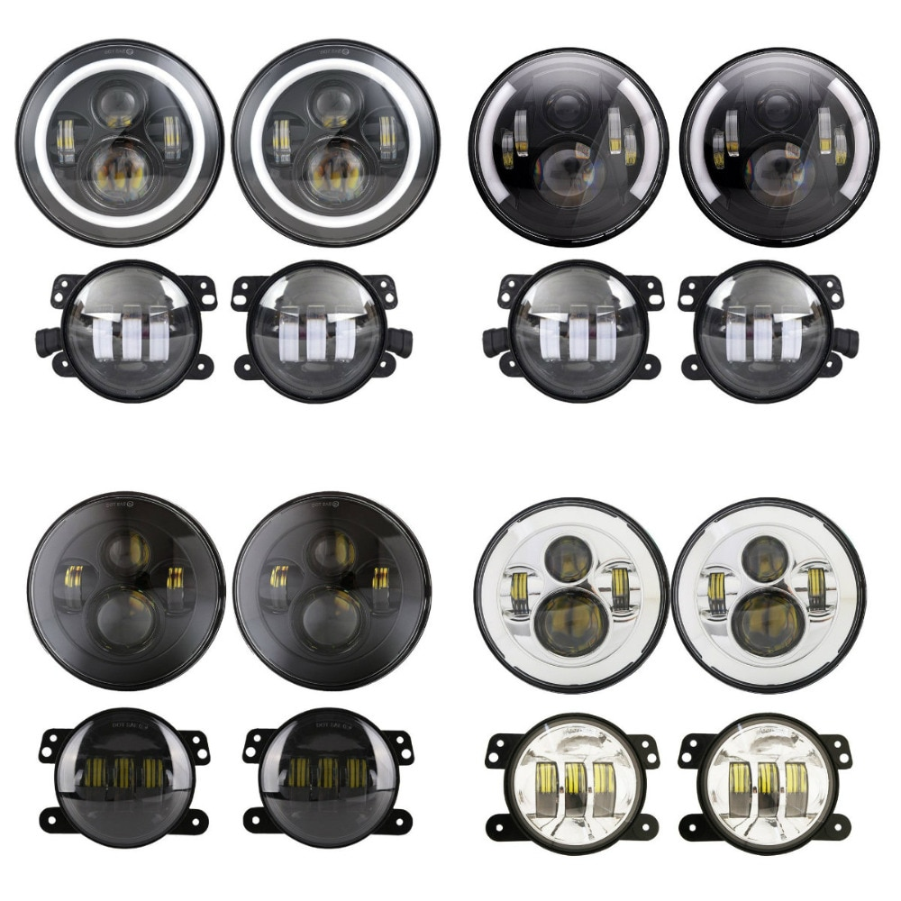 7 pulgadas ronda LED faro DRL Halo Ojos de Ángel Kit 30W 4 pulgadas LED Luz de niebla para Jeep Wrangler TJ JK Land Rover Defender