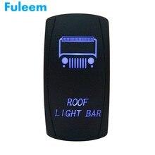Fuleem 범용 12 v 20a on-off 지붕 라이트 바 로커 토글 스위치 레이저 블루 led 5 pins for jeep 자동차 보트 atv
