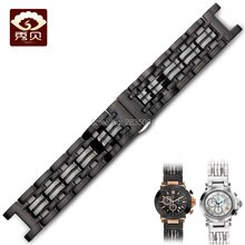 Top 316L correa de acero inoxidable boca cóncava 22*13mm pulsera negra con cierre de botón para GC relojes envío gratis hombres