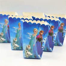 Disney Cartoon Frozen Box 6pcs/Lot Disposable Paper Box Princess Anna Elsa Theme Birthday Party Baby shower Popcorn Box Supplies